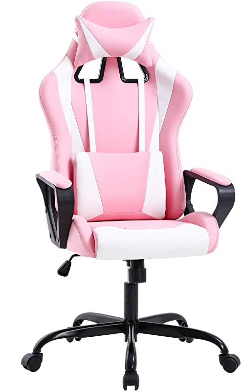 Gaming Chair Office Chair Desk Chair Ergonomic Executive Swivel Rolling Computer Chair With Lumbar Support Pink