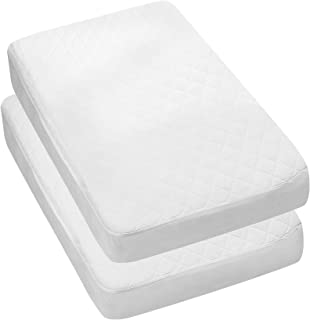 Utopia Bedding Waterproof Crib Mattress Protector - Quilted Crib Fitted - Cradle Mattress Cover (2-Pack)