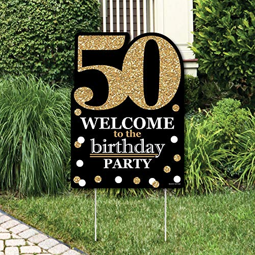 Big Dot of Happiness Adult 50th Birthday - Gold - Party Decorations - Birthday Party Welcome Yard Sign