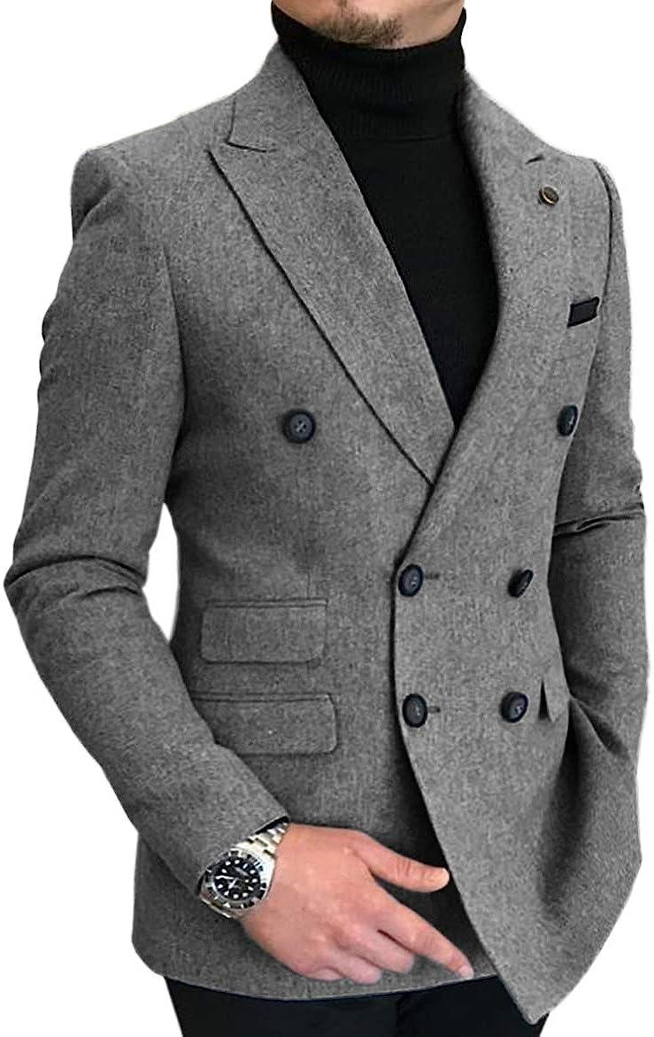 Cheap Mens Suit Ranking TOP17 One Piece Jacket Casual Lapel Peak Solid Tweed Tu Wool