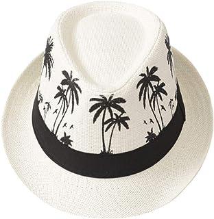 EDCA Sun Hat Casual Sun Protection Wide Brim Sombrero Summer Travel Beach Straw Fashion Fedora Men Caps (Color : Ivory)