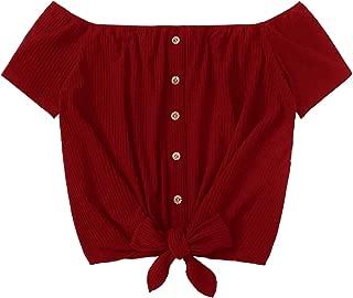 Women's Off The Shoulder Short Sleeve Tie Front Crop Top T-Shirt