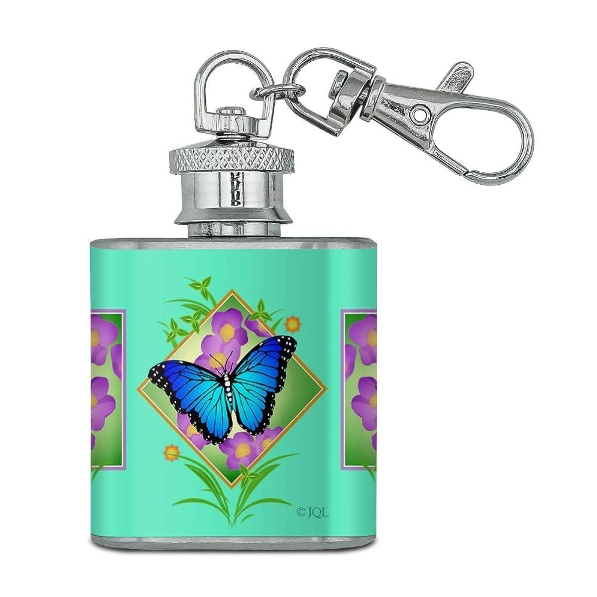 Blue Butterfly Purple Flowers Stainless Steel 1oz Mini Flask Key Chain