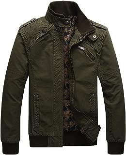 Men's Casual Long Sleeve Full Zip Outdoor Jacket with Shoulder Straps