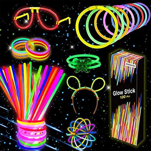Kimimara Knicklichter, 100 Leuchtstäbe mit 122 Anschlüssen, Verbinder für Armbänder und ein Brillenset, Leuchtspielzeug für Kinder (Verschiedene Farben)