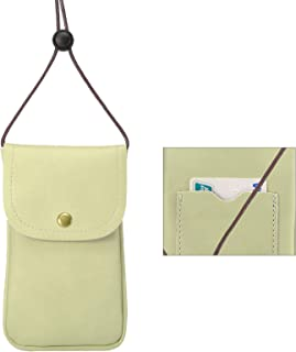 Cell Phone Neck Pouch, Techcircle PU Leather Carrying Bag with Credit Card Holder Adjustable Strap, Small Travel Purse for iPhone Xr Xs Max 8 7 6 Plus, Galaxy S10 S7 Edge J7, Moto G6 (Green)