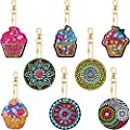 8 Pieces DIY Diamond Painting Keychains 5D Mosaic Making Full Drill Diamond Painting Pendant Ice Cream Diamond Keychains Mandala Keychains for Art Craft Keyring Phone Charm Bag Pendant Decoration