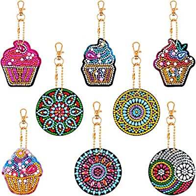 8 Pieces DIY Diamond Painting Keychains 5D Mosaic Making Full Drill Diamond Painting Pendant Ice Cream Diamond Keychains Mandala Keychains for Art Craft Keyring Phone Charm Bag Pendant Decoration
