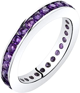 Peora Amethyst Eternity Band Ring Sterling Silver 1.00 Carats Sizes 5-9