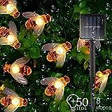 Guirnalda de luces solares, resistente al agua, 7 m/50 LED, 8 modos de miel, abeja, luces solares para jardín, césped, patio, fiesta al aire libre, boda, decoraciones de Navidad [Blanco cálido]