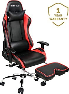 Merax Ergonomic Racing Gaming Chair with Adjustable Armrests High-Back PU Leather Chair with Footrest Home Office Chair (red)