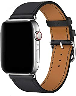Compatible for Apple Watch Leather Band 44mm 42mm 40mm 38mm Genuine Leather Strap Replacement for iWatch Band Series 5 4 3 2 1 Watchband Men Women Wristband