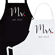 Mr Mrs Est 2019 Apron Set - Engagement & Wedding Gifts Aprons For Women   Bridal Shower Or Couple Anniversary Cooking Gift    The Funny Kitchen