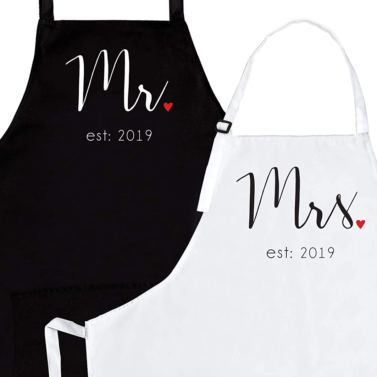 Mr & Mrs Black & White Aprons with Pockets - Funny Newlywed / Bridal Shower / Engagement / Anniversary / Wedding Gifts | His and Hers Matching Couples Aprons (Standard, Mr. & Mrs. Est: 2019)