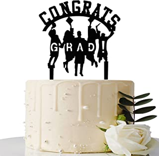 Maicaiffe Black Glitter Congrats Grad Cake Topper - 2021 Graduation Party Decorations Supplies - Graduation Cake Topper - ...