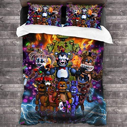 POMJK Five Nights at Freddy's Juego de ropa de cama FNAF, funda nórdica supersuave, 3 piezas, unisex, con 2 fundas de almohada (FNAF2, 135 x 200 cm + 50 x 75 cm × 2)