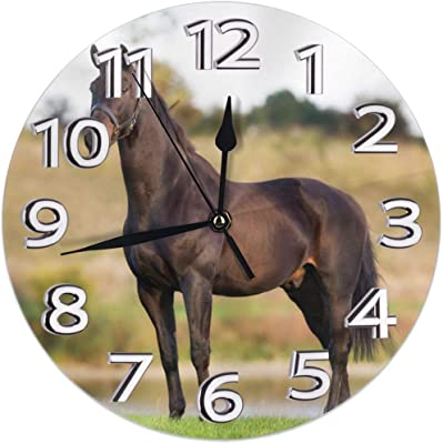 "analogue battery powered horses Wooden Round Wall Mounted Clock 11/""wide"