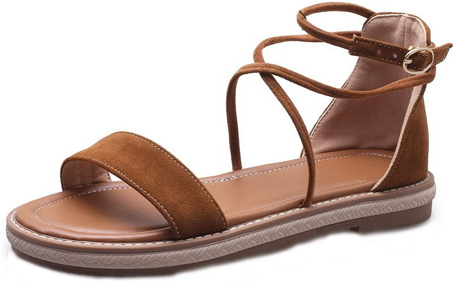 WeiPoot Women's Open-Toe Low-Heels Frosted Solid Buckle Sandals, EGHLH006811