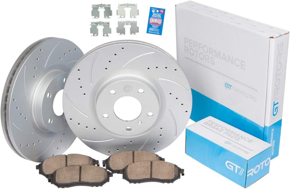 Over item handling ☆ Front Kit GEOMET Coated Slotted Drilled Disc specialty shop Brake Rotors