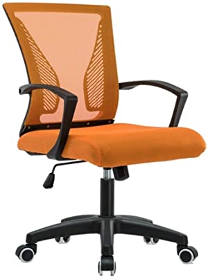 HIZLJJ Stool Chair Boss Office Products Ergonomic Works Drafting Chair Adjustable Height Recline Cushioned Seat 360° Rotation Task Chair (Color : Orange)