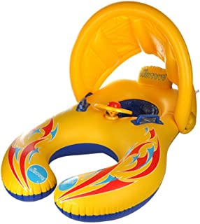 Inflatable Baby Swimming Ring,Mommy and Baby Parent-Child Double Person Inflatable Float Seat Swimming Boat with Removeable Sun Canopy for Baby and Mom-Kalolary