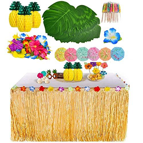YQing 119 Pezzi Gonna Tavolo Hawaiana Tovaglia da Tavolo Set, Foglie di Palma Fiori hawaiani Cake Topper per Il Partito Luau Hawaiano Decorazioni da tavola