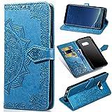 Funda para Samsung Galaxy S8 Plus, Galaxy S8+ Carcasa Libro con Tapa Flip Case Antigolpes Golpes Cartera PU Cuero Suave Soporte con Correa Cordel - Mandala Azul