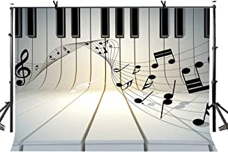 LYLYCTY 7x5ft Music Theme Backdrop Piano Black and White Key Music Symbol Music Element Photo Studio Photography Background Props Video Studio Props LYLX436
