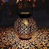 GolWof Solar Lanterns Outdoor Hanging, Hanging LED Solar Lights Decorative Retro Metal Waterproof Solar Lamp with Handle for Garden, Yard Porch and Tabletop
