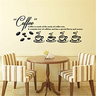 Decals Wall Stickers Sayings Lettering Room Home Wall Decor Mural Art French Quote Le Café Est Fait Des Graines De Caféier Pour La Cuisine Coffee is Made of The Seeds of Coffee Tree for Kitchen