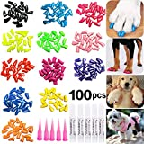 JOYJULY 100pcs Dog Nail Caps Soft Claws Covers Nail Caps for Pet Dog Pup Puppy Paws Home Kit, 5 Random, with Glue, Tips and Instruction, XL