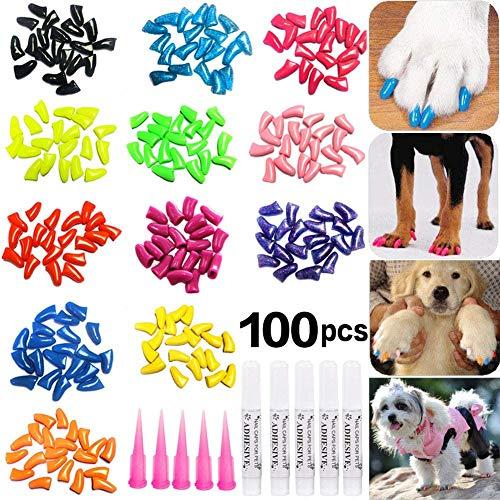 JOYJULY 100pcs Dog Nail Caps Soft Claws Covers Nail Caps for Pet Dog...