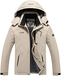 Men's Outdoor Jacket and Velvet Warm Mountaineering Clothing Windproof Cotton Coat XGCCDAUU (Color : Khaki, Size : L)