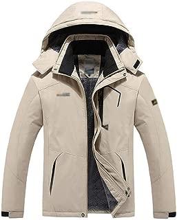 YXHM A Men's Outdoor Jacket and Velvet Warm Mountaineering Clothing Windproof Cotton Coat (Color : Khaki, Size : XL)