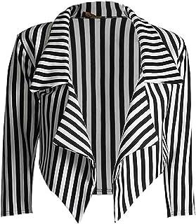 New Womens Black White Striped Crop Waterfall Blazer Ladies Casual Jacket Coat Stripe Blazer, Black and White Stripe, M/L...