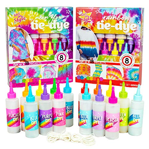 Just My Style 2-in-1 Tie-Dye Kits by Horizon Group USA, Radical Rainbow & Neon Glow, DIY Tie Dye Kit, Includes 16 Dyes, Bottles, Rubber Bands, Protective Gloves, Illustrated Instructions