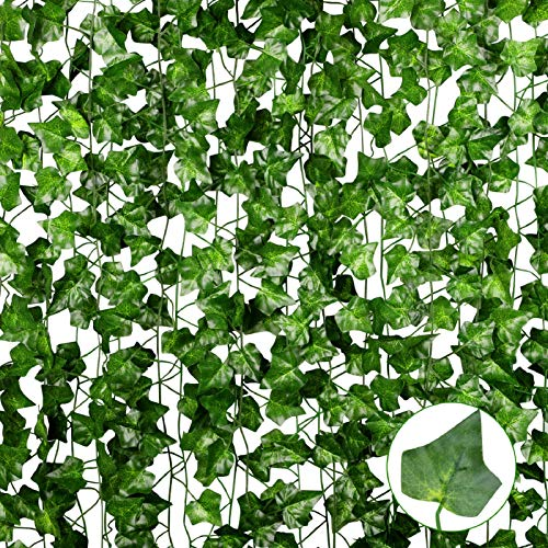 Anoak 90 Ft 12 Pack Artificial Ivy Fake Vine Leaves Wedding Garland Greenery Foliage Fake Hanging Plants for Wedding Decor Party Backdrop Bedroom Balcony Garden Decoration…