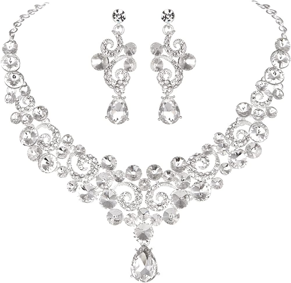 Youfir Crystal Flower Teardrop Wedding V-Necklace Dangle and Earrings Jewelry Sets for Brides