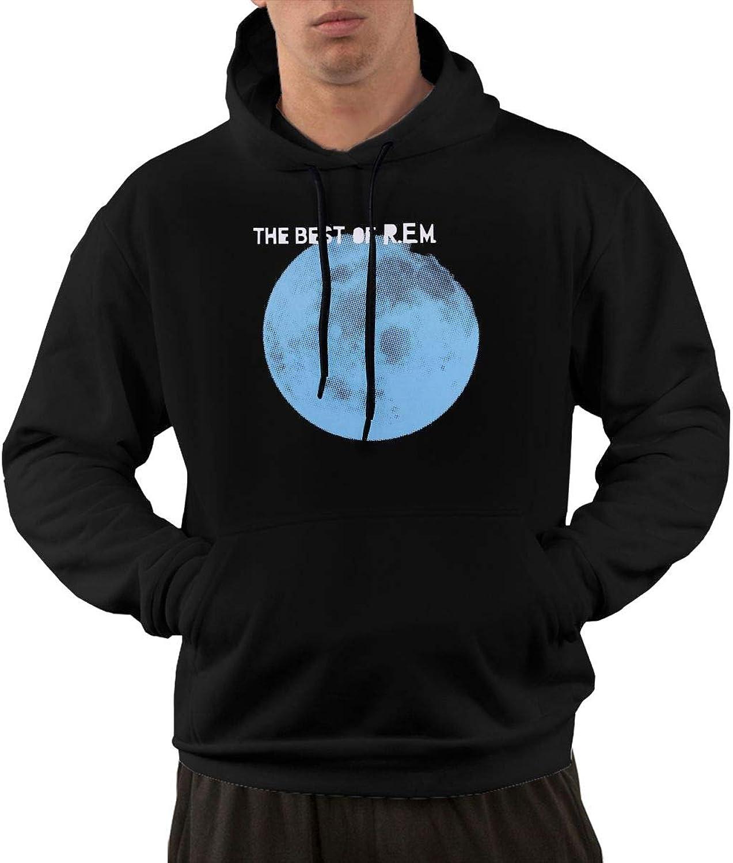 AlbertV Mens REMThe Very Best Of Hoodies Sweatshirt With Pocket Black