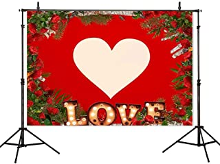 Allenjoy 7x5ft Valentine's Day Wedding Backdrop Love Heart Red Rose Photography Background Photo Studio Props