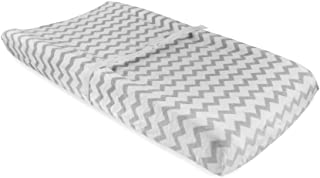 Waterproof Plush Changing Pad Cover 100% Cotton Grey and White Chevron Velvet by Ely`s & Co no Need for Changing Pad Liner