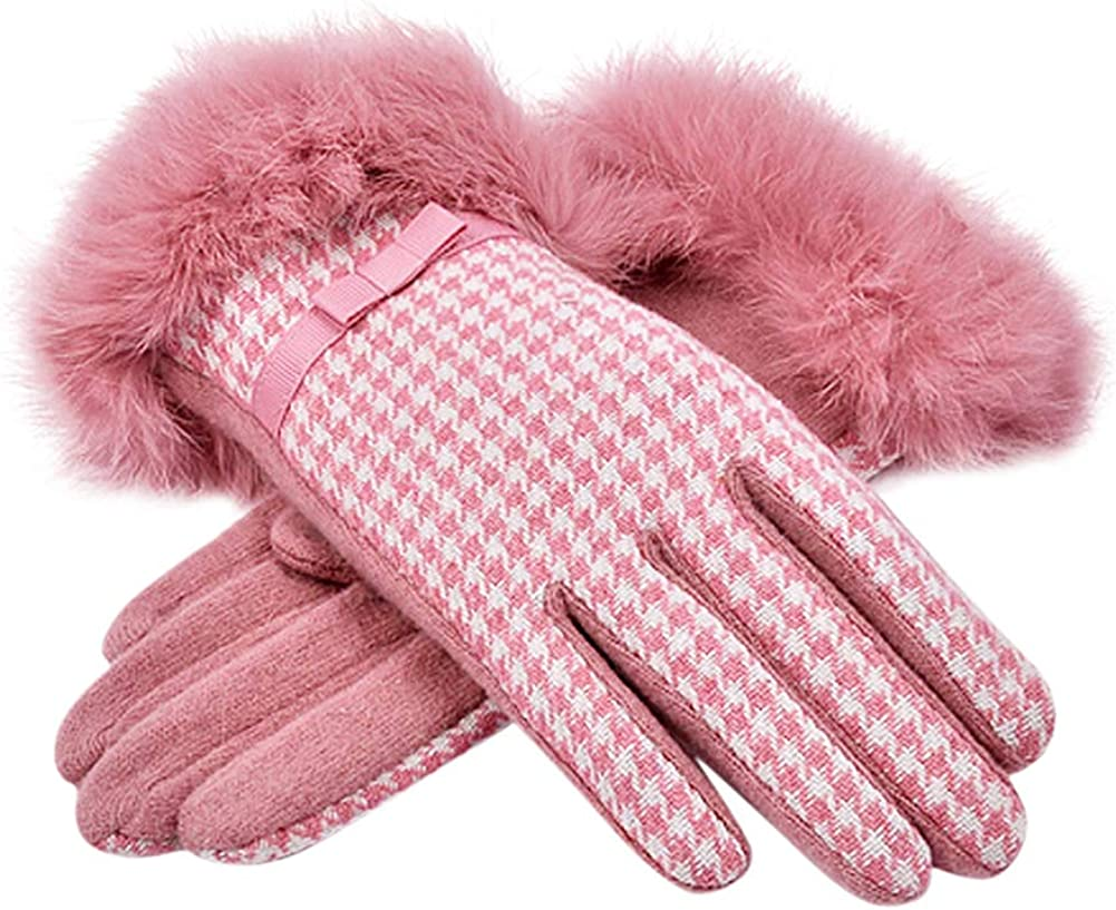 Tortor 1Bacha Women Winter Wool Plaid Gloves Warm Knit Thick Fleece Lining Rabbit Fur Cuff
