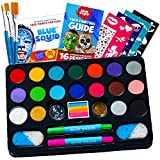 Face Paint Kit for Kids – Blue Squid 22 Colors, 160pcs, Ultimate Face Painting Kit, Stencils, Gems, Hair Chalks, Brushes, Glitter, Sponges, Booklet, Professional Body Facepaints, Halloween Makeup