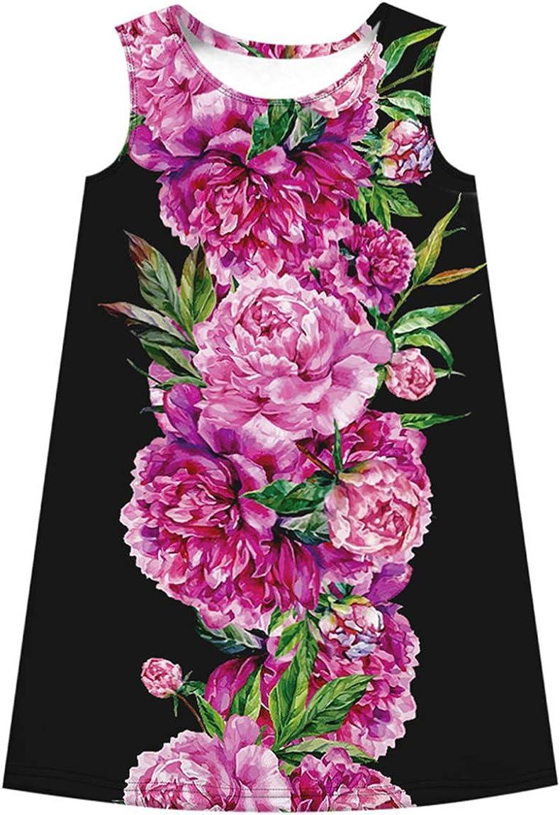 Ocean Plus Ni/ña Vestido Floral Redondo Vestido Recto Vintage Sin Mangas de Arco Iris Tops de Impresi/ón Digital