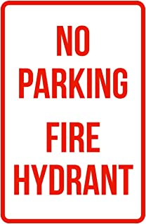 iCandy Products Inc No Parking Fire Hydrant Business Safety Traffic Signs Red - 12x18 - Metal