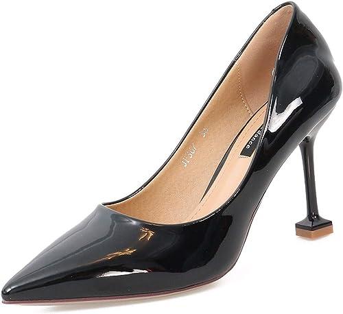 SFSYDDY-9Cm des Chaussures à Talons Hauts Summer Sexy Bien Bien à La Mode Pointus Bouche Simple Laque des Chaussures De Femme.  réductions incroyables