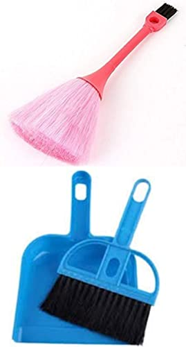 Essential Product Combo of Small Broom Dustpan with Brush Set with Keyboard Dust Cleaning 2 Sided Microfiber Brush Multicolor