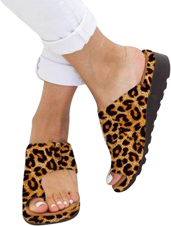 Women's Slippers Beach Casual shoes Print Flat Slides Thick-Soled Cork SLI,