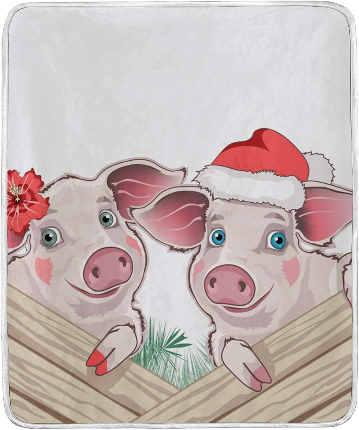Vantaso Blankets Cute Christmas Pig Couple Throws Soft for Kids Girls Boys 50x60 inch