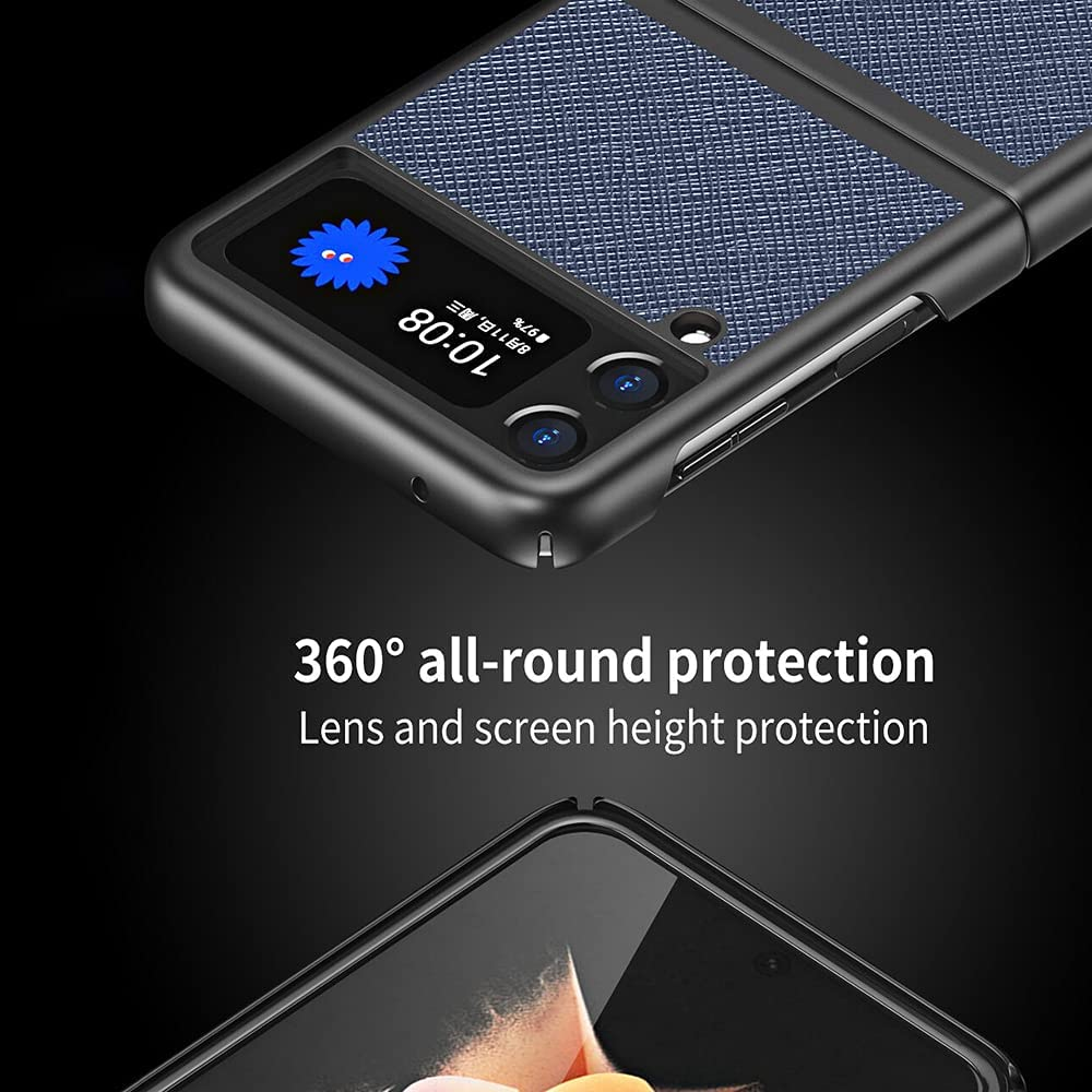 LANHUO668 for Samsung Galaxy Z Flip 3 5G Case,Phone Cross Texture Durable Protective Leather Flip Phone Hard Cover (Navy Blue)